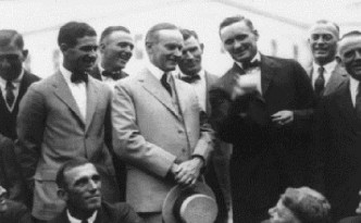 Walter Johnson Showing President Calvin Coolidge How he Pitches