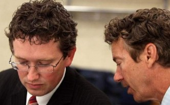 Newly elected Kentucky Congressman and Tea Partier Thomas Massie (left) with Kentucky Senator Rand Paul (right).