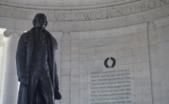 The Jefferson Memorial - An Excerpt from the Declaration of Independence Behind