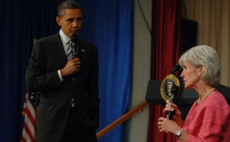 President Obama and HHS Secretary Kathleen Sebelius