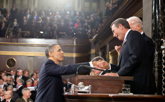 President Barack Obama shakes hands with Speaker of the House John Boehner before delivering the State of the Union address at the U.S. Capitol in Washington, D.C., Jan. 25, 2011. (Official White House Photo by Pete Souza)  This official White House photograph is being made available only for publication by news organizations and/or for personal use printing by the subject(s) of the photograph. The photograph may not be manipulated in any way and may not be used in commercial or political materials, advertisements, emails, products, promotions that in any way suggests approval or endorsement of the President, the First Family, or the White House.Ê