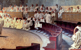 ANC241044 Cicero (106-43 BC) in the Senate Accusing Catiline of Conspiracy on 21st October 63 BC, 1889 (fresco) by Maccari, Cesare (1840-1919); Palazzo Madama, Rome, Italy; Ancient Art and Architecture Collection Ltd.; Italian,  out of copyright